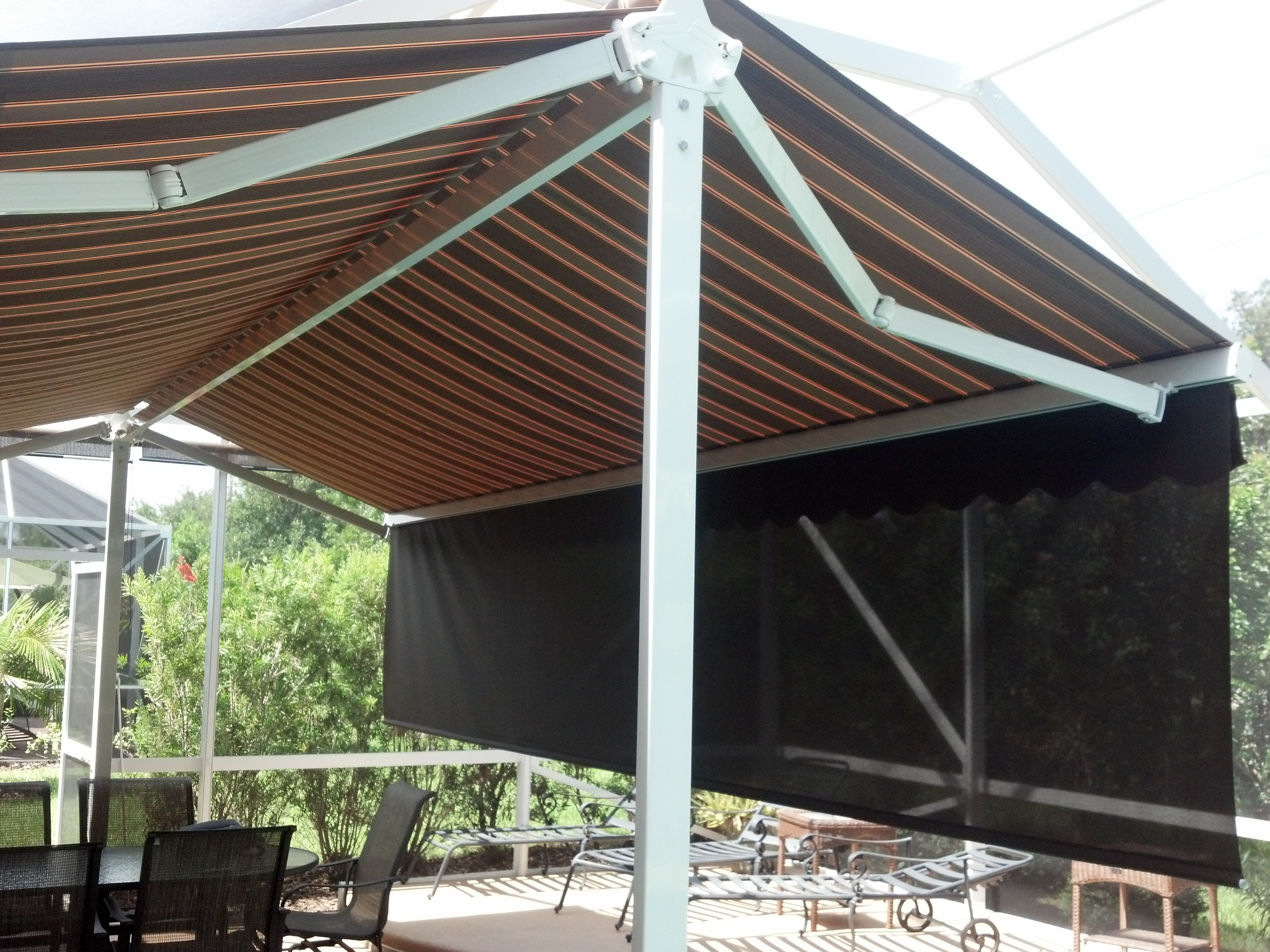 overstock freestanding awning aluminum canopy today free shipping product home english retractable garden standing